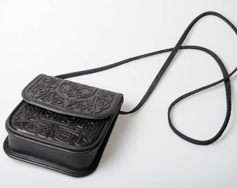 Black small bag, leather mini purse, small crossbody bag, hot tooled leather, black shoulder bag, embossed leather purse, gift for girl