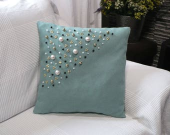 Handmade decorative pillow green.