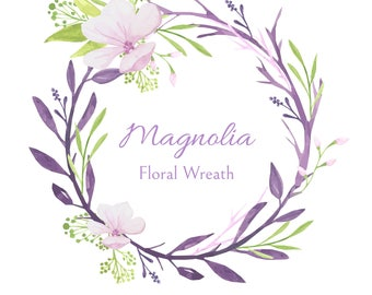 Hand Painted Watercolor Magnolia Floral Wreath