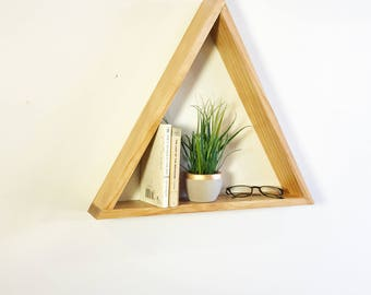 Classic Pine Geometric Triangle Shelf | Modern Home Decor, Minimalist Decor, Triangle Shelves