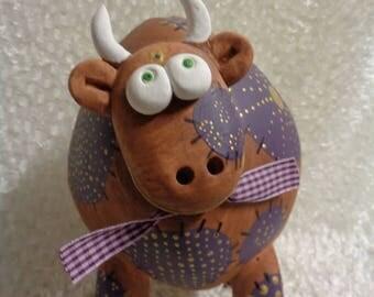 Piggy bank, ceramic, cow