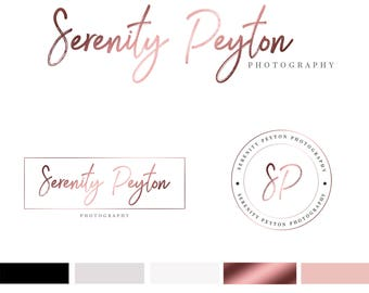 Branding Kit Template, Photography Logo, Photographer Logo, Branding Kit, Rose Gold Logo, Premade Logo, 3 Logos, INSTANT DOWNLOAD, DIY Logo