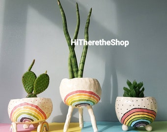 The Rainbow Pot Collection - Ceramic, handmade planter, succulent pot, cactus pot, plant pot, home studio pottery, pinch pot, gift ideas.