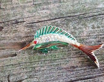 Vintage Swordfish Brooch with AB Rhinestones