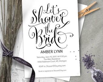 Lets shower the bride, bridal shower invites, Bridal shower invitation template, Printable, editable text, whimsical, rustic, PDF