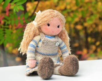Doll-Toy-Adele doll-knitted doll-doll toy-Waldorf inspired doll-Doll with kitty