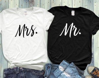 Couples Shirts, His And Hers, Mr. Mrs. Husband And Wife, T Shirts, Matching Shirts, Wedding Gift, Bridal Party, Anniversary Gift