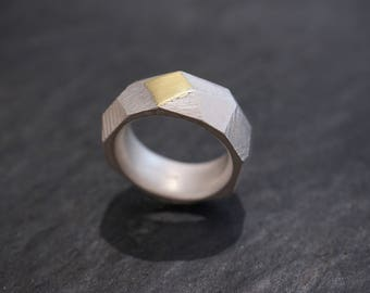 Silver ring with gold * Statementring *
