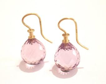 Amethyst Earrings with gold 22k