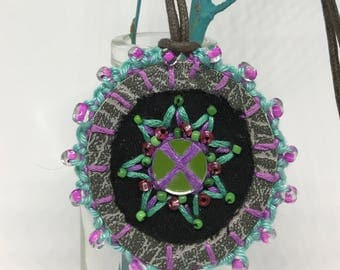 Jade green and purple mirror and embroidery positivity pendant