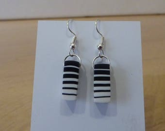 original black and white polymer clay earrings for symmetrical