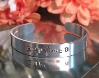 Empower Stamped Cuff Bracelet, Hand Stamped Metal Cuff, Feminist Jewelry, Inspirational Jewelry, Empowerment Series, Gifts for Her