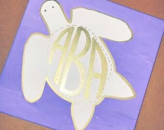 Customized Art, Handpainted Canvas, Room Decor, Wall Decor, Art Print - Turtle Initials, Sorority Initials