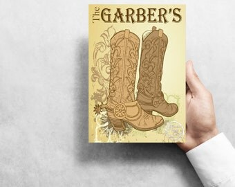 """PERSONALIZED Cowboy Boots  7""""X10"""" Metal Wreath Sign"""