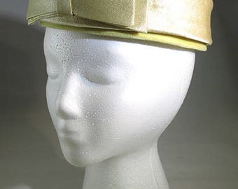 Vintage 1960s Yellow Satin Pillbox Hat with Bow