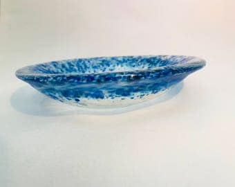 Blue And Clear Fused Glass Bowl.