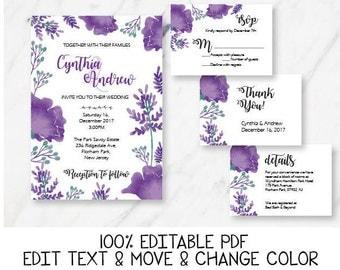 Ultra violet wedding invitation template Purple wedding invitation printable Floral wedding Pantone ultra violet invite DIGITAL