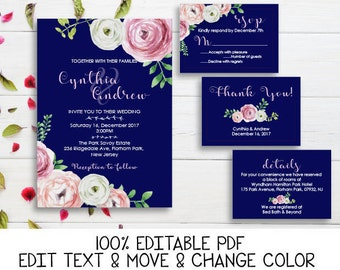 Navy blue pink wedding invitation printable Peony wedding invitations Navy blue invitation template Floral wedding set -DIGITAL