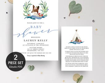 INSTANT DOWNLOAD Printable Fox Baby Shower Invitation Printable Template - Boy - BONUS Detail Card