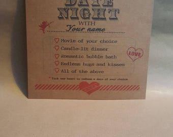 Personalised Date Night Certificate