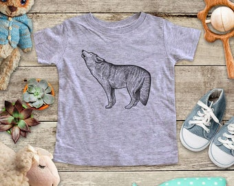 Wolf howling graphic Illustration Zoo animal wild kingdom Shirt - Baby bodysuit Toddler youth Shirt cute birthday baby shower gift