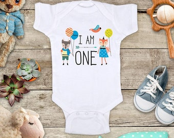 I Am One Birthday Fox Kids with balloons hippie hipster Bohemian design - Two Three Four First Second Third Fourth Fifth Bday Shirt Bodysuit