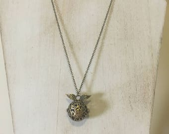 Harry Potter Snitch-Inspired Locket with Lava Stone Diffuser on an Antique Bronze Necklace