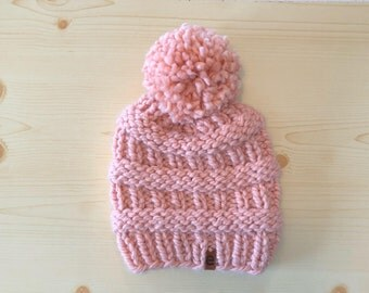 chunky blush knit hat with pom (adult)