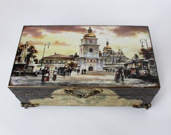 Wooden Box Home decor Decorative Box Vintage Box Storage drawer Jewelry Box Decoupage box Gift for Men Box for money Memory Box