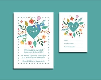 Spring Wedding Invitation Package with RSVP Cards and Envelopes SAMPLE