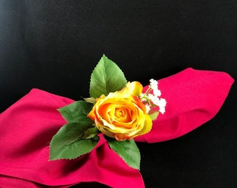Yellow Rose Flower Napkin Ring