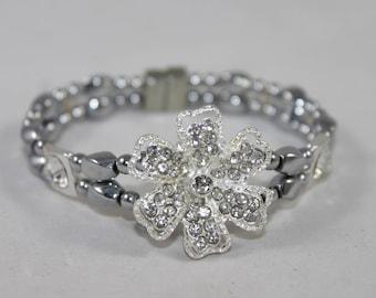 Silver Tone Rhinestone Flower High Quality Magnetic Bracelet