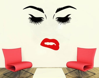 Wall Decal Window Sticker Beauty Salon Woman Face Eyelashes Lashes Eyebrows Brows t55
