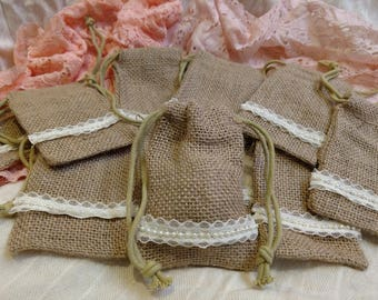 Wedding/Bridal Favor Bags, Burlap and Lace