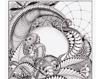 Doodle, zentangle snake