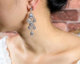 Bridal Earrings Wedding earrings Crystal Long Bridal earrings Wedding Jewelry Long Crystal Stud Earrings Chandelier silver rose gold