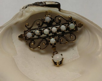 Victorian Styled Gold & Opal brooch