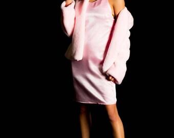 Plush Faux Fur Fluffy Coat Millennial Pink Soft Warm Jacket Women's Outerwear Long Sleeve