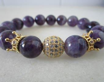 Amethyst  bracelet Natural stone bracelet jewelry for woman gift for women beaded Bracelets Amethyst Jewelry Gift stone bracelet for woman