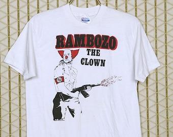 Dead Kennedys vintage rare T-shirt, Rambozo white tee shirt, soft thin, Jello Biafra, hardcore punk rock, 1980s 1986, Bedtime for Democracy
