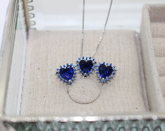 Blue Hearts Jewelry Set - Heart Pendant Necklace - Heart Stud Earrings - Wedding Jewelry - Crystal Earrings - Bridesmaid Gift
