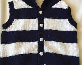 Blue and white striped gilet