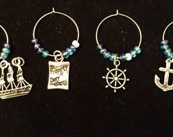 Wine Glass Nautical Charms