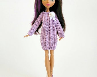 Monster High Dresses Doll Romantic with braids GalactikaMagicThread:  Monster High fashion doll dress crochet.