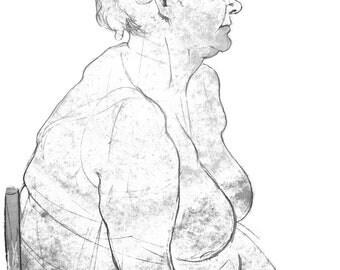Digital Download PDF|Woman Life Drawing Art|A1|A2|A3|A4|PDF|Pencil
