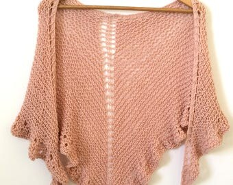 Knitted shawl / Spring Shawl / Summer Shawl / Cotton Shawl / Chal de algodón / Light Pink shawl / Misty rose Shawl / Chal color rosa palo