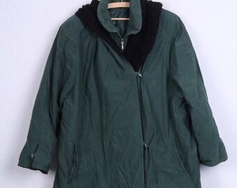 Vintage Womens 18 XL Coat Green Hood Padded