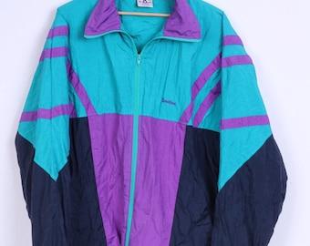 Active Mens L Track Top Jacket Shiny Swiss Design Nylon Zip Up Retro Waterproof