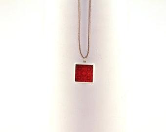 Pendant/Neckless adjustable/Brooch molten glass tile - Red Door