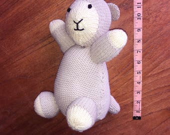 beautiful hand knitted lamb soft toy